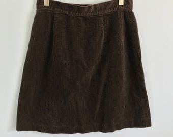 vintage brown corduroy A-line skirt