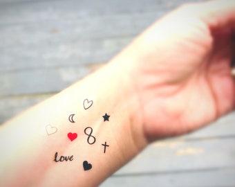 3037584a2a4c3 fake tattoo set wedding tattoo bar heart infinity moons and stars cross tiny  small finger temporary tats favors gifts