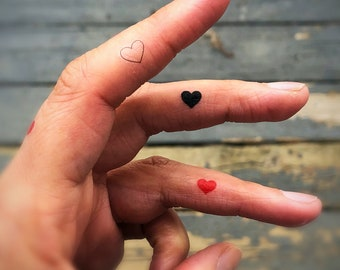 7df02eda0 tiny heart tattoos set of 15 fake tattoos temporary tattoos red heart tattoo  black heart outline of heart faux