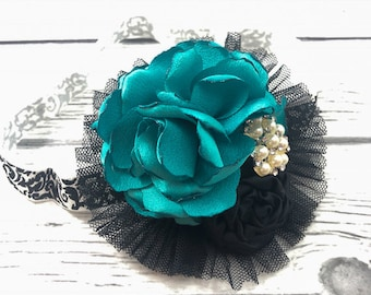 Cluster Flower Headband Teal, Black and White Singed Flower, Satin Rosette, Tulle Accent on Stretch Baroque Print Elastic Band