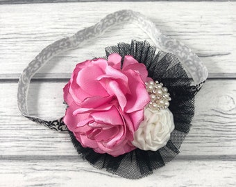 Cluster Flower Headband Hot Pink, Black and White Singed Flower, Satin Rosette, Tulle Accent on Stretch Baroque Print Elastic Band