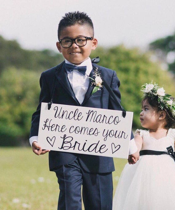 For Once Shes On Time Ring Bearer Ring Bearer Signs Here Comes the Bride Wooden Ring Bearer Sign Wedding Sign