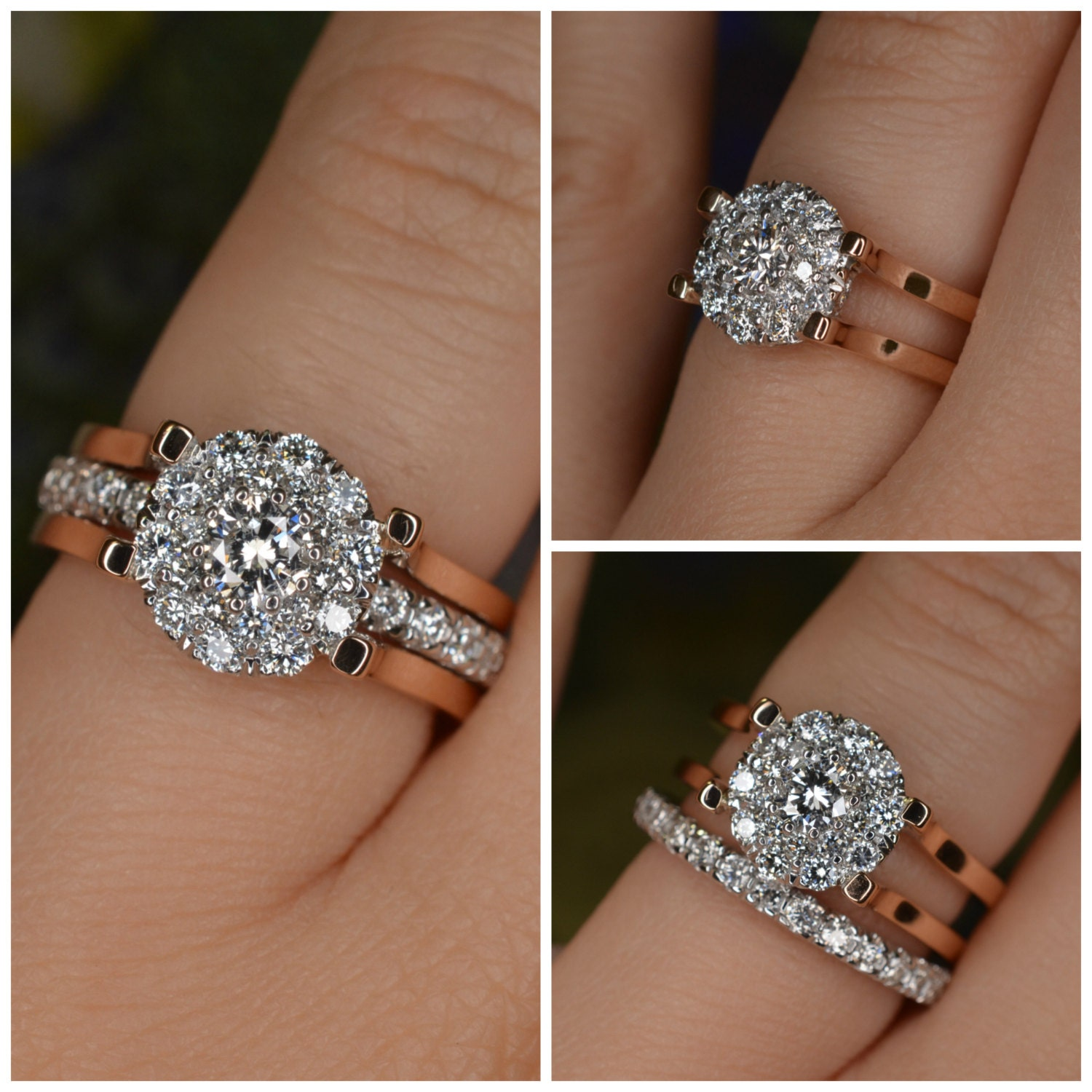 Insert Style Diamond Engagement Ring And Eternity Band Set