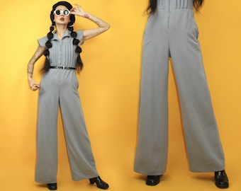 e917185469d1 vintage 60s Bell Bottom Jumpsuits   SZ S   70s flared wide legs jumper    double knit structure round pockets   MOD Space Age