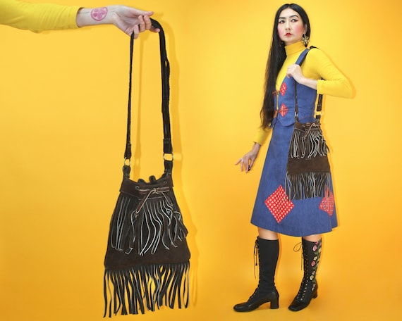 Vintage 1960s 1970s Suede Fringe Shoulder Bag / Vi