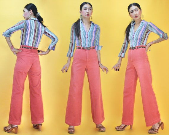 Vintage 1970s DITTOS Pink Flamingo color High Wais