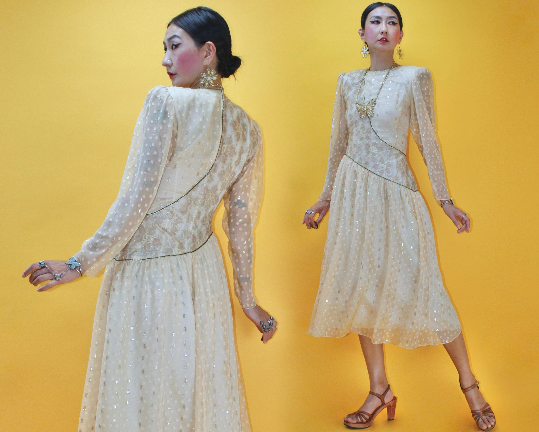 80s Dresses   Casual to Party Dresses Vintage 1980S Hanae Mori Lurex Polka Dot Pattern Mix Silk Chiffon DressSz S Waist 26 80S Japanese Designer Metallic Gold Floral Sheer $39.00 AT vintagedancer.com