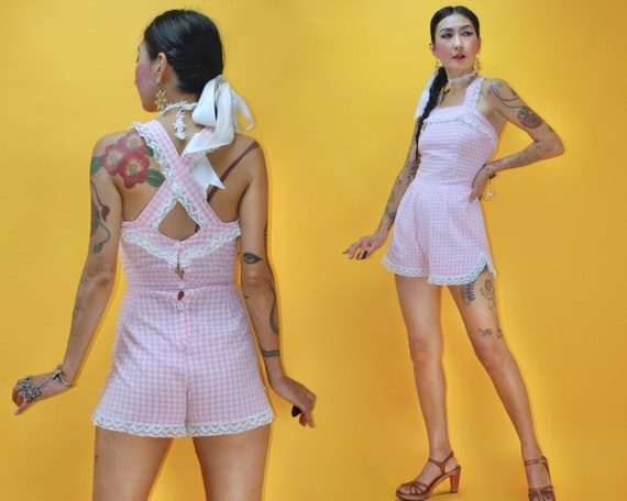 Vintage 1950s 50s Baby Pink Gingham Check Romper /