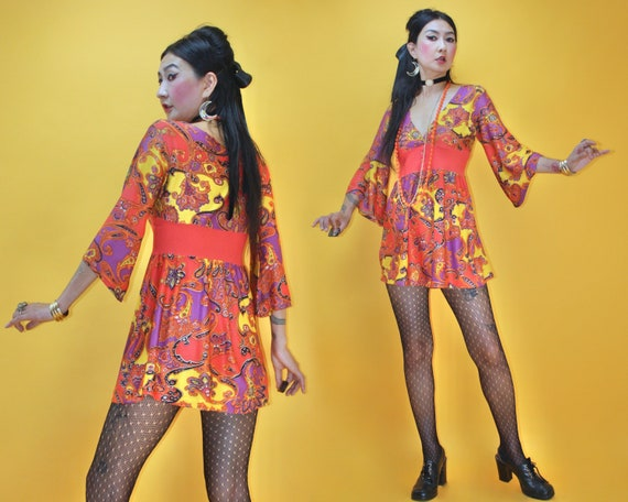 Vintage 1960s MOD Groovy Psychedelic Paisley print