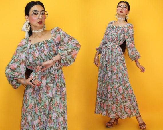 70s Tropical Floral Maxi Dress