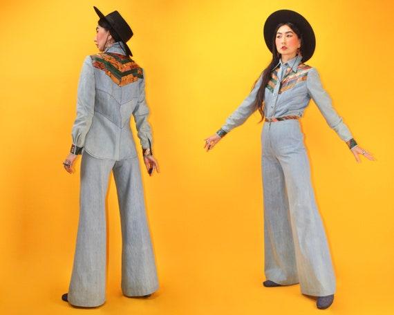 vintage 70s Snakeskin Patchwork York Denim Bell Bo