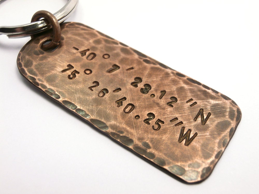 Personalized Custom Text, Hammered Copper Keychain Handstamped, Message Names, Date Initials Coordinates GPS, Men Accessory Anniversary Gift