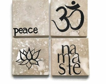 Yoga coasters - namaste - tumbled stone tiles - yoga gift set - four tiles
