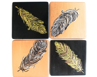 Gold and Black Feathers - Set of Four Coasters - Bohemian Decor