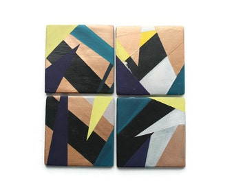 Colorful Coasters -  Bar Coasters - Set of 4 tiles - Geometric Decor
