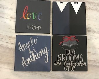 Same sex marriage coasters- engagement gift - Two grooms better than one - gay marriage gift - rainbow love