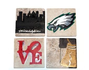 Sports Coasters - Philadelphia Eagles - Tumbled Stone Coasters -set of four tiles