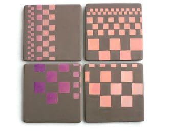Pink Ceramic Coasters - Coasters set of 4 - Housewares - Gift Set