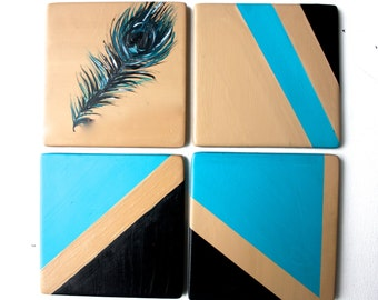 Feather Coaster Set - Blue black and tan- Ceramic Coasters Set of 4 - Feather Decor