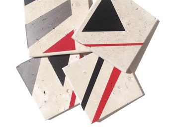 "Red Geometric Coasters - Red and Black - Natural Stone - 4""x4"" tiles - Set of 4"
