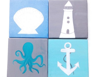 BEACH Themed Coasters - Blue Beach Decor - Personalized Gift - Light House - Anchor