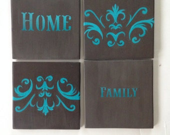 "Blue and Grey Coasters - ""Family"" theme - Set of 4 - ""HOME"""