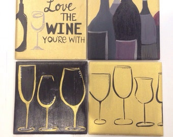 "WINE DECOR - ""Love the wine you're with"" - Ceramic Coasters set of 4"