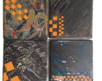 ORANGE COASTERS - Grafitti Style Decor - Edgy Housewares