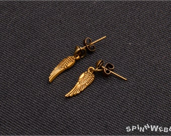 Wings Earrings - Studs, small wings, filigree, charm, metal, gold, bronze, jump ring, handmade