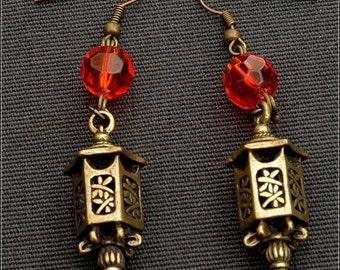 Lantern Earrings - Pendant,filigree,  Czech Glass, bronze, ornage, metal, handmade