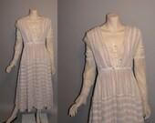 Vintage 1910s On the Boardwalk Titanic Edwardian Tea Dress Linen Womens Dress - XS