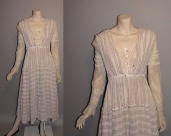 Vintage 1910s On the Boardwalk Titanic Edwardian Tea Dress Linen Womens Dress - XS