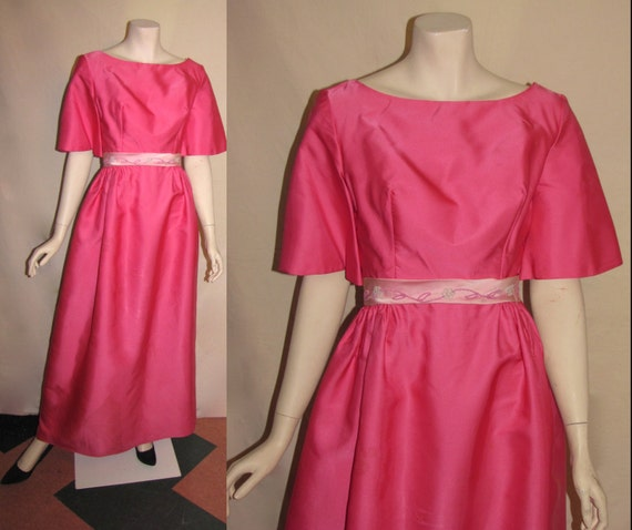 Vintage 1960's Beaded Pink Fuschia Mad Men Gown Sa