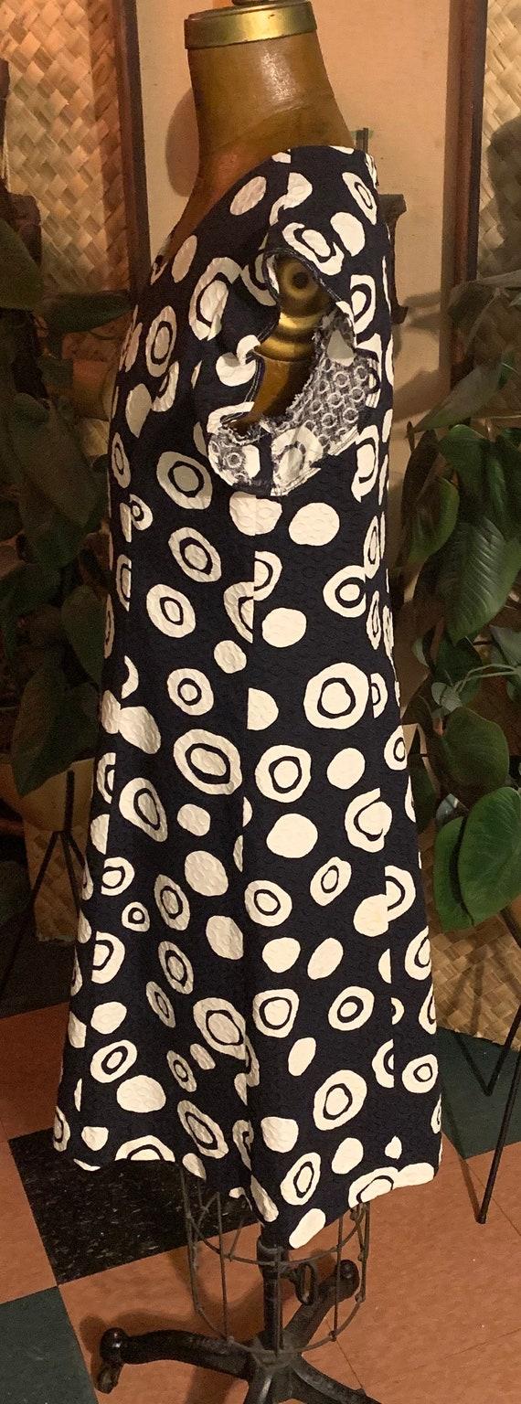 Vintage 1960's Tiki Orbs 60's Cotton Brocade Shif… - image 3