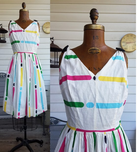 Vintage 1950's Candy Store 50's Multi-Colored Cott