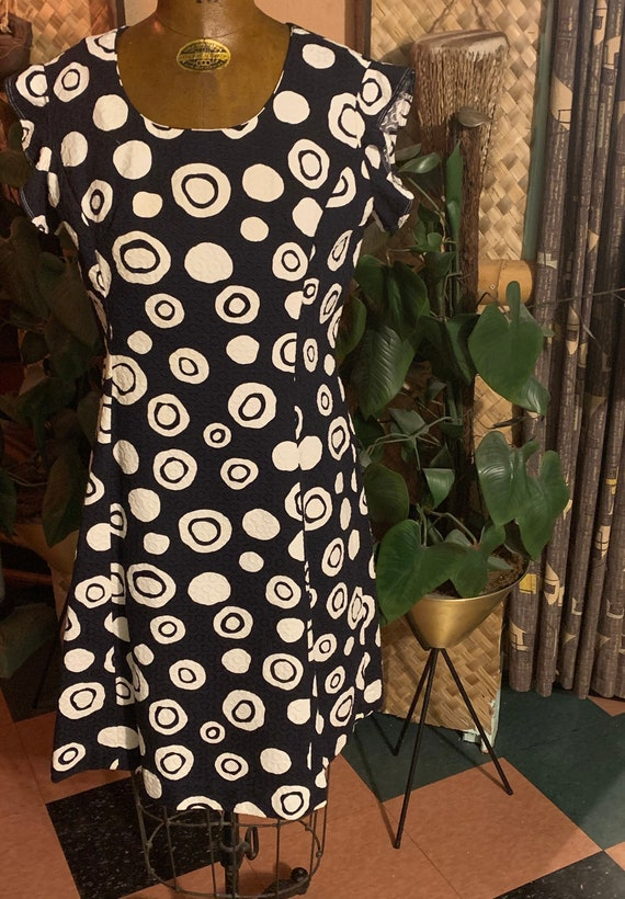 Vintage 1960's Tiki Orbs 60's Cotton Brocade Shif… - image 2