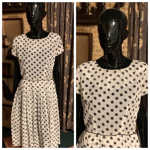 Vintage 1960's Black Dots 60's Semi Sheer Linen Fi