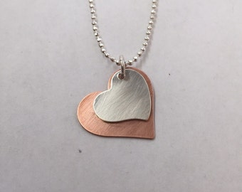 Sterling Silver and Copper Heart Necklace