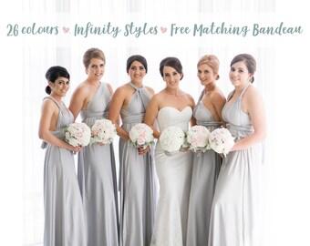 76509622092b Bridesmaid Dress Light Grey / Silver Maxi Floor Length, Infinity Dress,  Prom Dress, Multiway Dress, Convertible Dress, Maternity - 26 colors