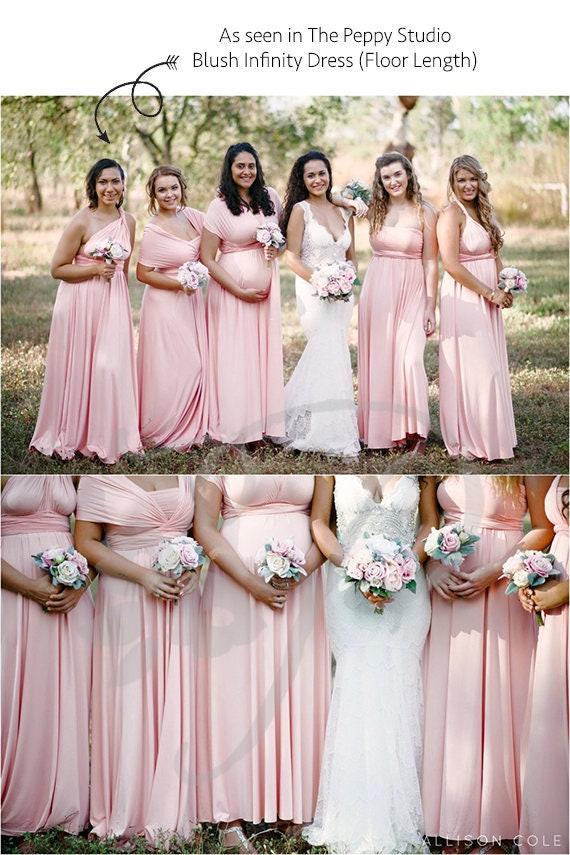 Bridesmaid Dress Blush Maxi Floor Length, Infinity Dress, Prom Dress, Multiway Dress, Convertible Dress, Maternity 26 colors