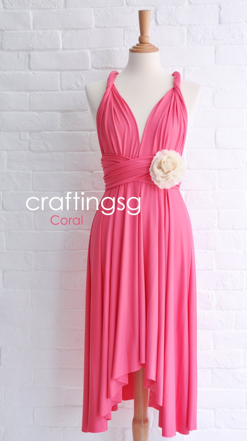 Bridesmaid Dress Infinity Dress Coral Pink Knee Length