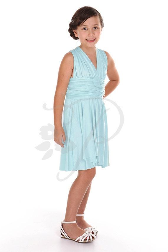 Junior / Mini Brautjungfer Kleid Infinity Kleid Aqua Blau