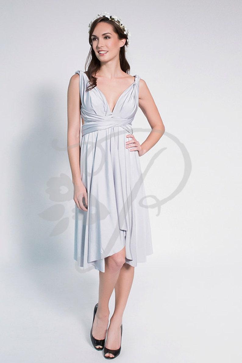 Silver Knee Length Dress