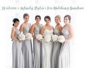 Bridesmaid Dress Light Grey / Silver Maxi Floor Length, Infinity Dress, Prom Dress, Multiway Dress, Convertible Dress, Maternity - 26 colors