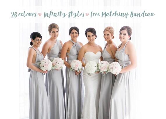 Bridesmaid Dress Light Grey Silver Maxi Floor Length, Infinity Dress, Prom Dress, Multiway Dress, Convertible Dress, Maternity 26 colors