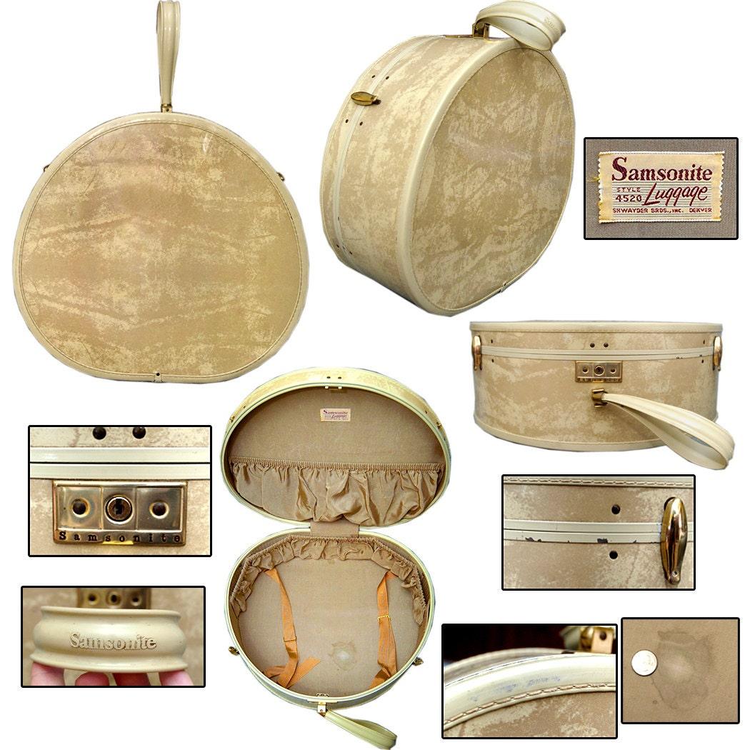 vintage ronde samsonite valise bagages pin up rockabilly etsy. Black Bedroom Furniture Sets. Home Design Ideas