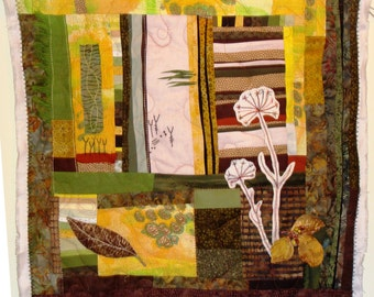 Textile Art Quilt - Autumn - the warm tones of autumn in a batik mixed media art quilt featuring beads, copper and embroidery