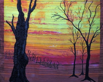 Art Quilt wall hanging textile wall art The Last Trees 3rd in the series After the Warming