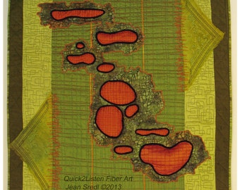 Silk Collage Art Quilt Tangerine and Chartreuse wall hanging, hand embroidered, beaded quilt, batik fabric, machine quilted silk fantasy