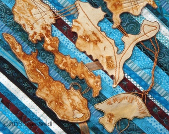 "Textile Art quilt Wall Hanging ""Pieces"" close up of mixed media fiber art quilt in turquoise, rust dyed muslin and embellishments"